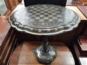 Sale 8882 - Lot 1063 - Victorian Papier-Mache Chess or Games Table, with chequer board, mother-of-pearl inlays & gilding, on a turned pedestal with iron fe...