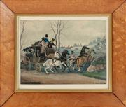 Sale 8908H - Lot 26 - A set of four prints with equine theme in a birds eye maple frame, includes The Sleepy Gatekeeper, Snowstorm. Total frame size 35cm...