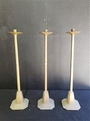 Sale 9014 - Lot 1030 - Set of Three Tall Brass Candlesticks, with stepped octagonal bases & drip-trays