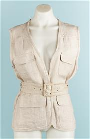 Sale 9071F - Lot 67 - A DEBRA HILL SAFARI STYLE TOP; in sand with two pockets and belted wasit, size S