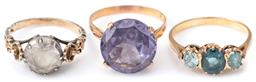Sale 9124 - Lot 307 - THREE VINTAGE STONE SET RINGS; 14ct set with a round cut synthetic sapphire imitating alexandrite with Egyptian hallmarks for Beni S...