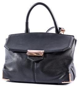 Sale 9132 - Lot 354 - THE ALEXANDER WANG MARION PRISMA BAG; soft black pebbled leather with hardware in a rose gold tone, fold over flap to main compartme...
