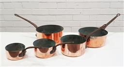 Sale 9126 - Lot 1198 - Collection of 5 French copper saucepans