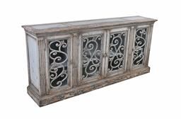 Sale 9140F - Lot 85 - A weathered grey reclaimed timber sideboard with 4 doors. Dimensions: W202 x D42 x H92 cm