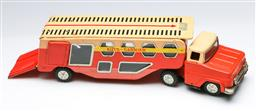 Sale 9168 - Lot 57 - A vintage Japanese tin toy truck and trailer (L:34cm)