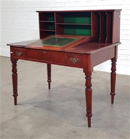 Sale 9215 - Lot 1028 - Late 19th Century Cedar Stationmasters Desk, with pigeon-hole superstructure, above an inlaid green leather writing slope, a faux d...