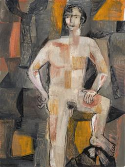 Sale 9214 - Lot 561 - MARK SCHALLER (1962 - ) Standing Figure oil on canvas 182 x 138 cm (frame: 186 x142 x 5 cm) inscribed, dated and titled verso