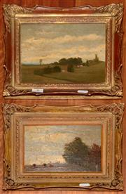Sale 8107B - Lot 8 - Harley Griffiths Snr, Pair of Early Australian Rural Vistas, oil on board, 13 x 19cm and 17 x 22cm Wax seal verso bearing initial H....