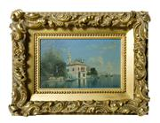 Sale 8828A - Lot 10 - Boats in Venice - 19th C Italian school signed lower left in original water gilt frame (some small losses) 21 x 34 cm