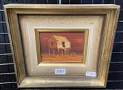 Sale 8998 - Lot 2005 - Colin Parker On the Southwest Rd, Winton QLD oil on board, 18 x 20cm (frame) signed -