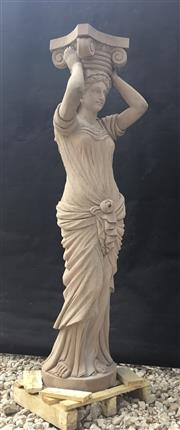Sale 9080G - Lot 32 - Carved Genuine Stone Caryatid Column Depicting Female Figure. Column Carved From One Piece Stone . General Wear. Size :160cm H x 43cm..