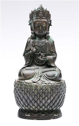 Sale 9093 - Lot 49 - Cast Metal Buddha On Lotus Throne H: 30cm