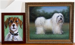 Sale 9103M - Lot 760 - Decorative print of a silky Terrier and original print of a fox Terrier, Larger 62cm x 73cm