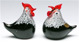 Sale 9168 - Lot 89 - A pair of Rikaro art glass chickens (H11cm)