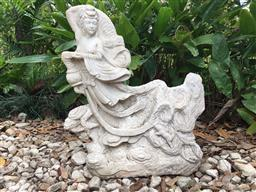 Sale 9175G - Lot 23 - Early Hand Carved Stone Guan Yin Floating Cloud Statue .Size 54cm H x 46cm Widest .Aged, Slight Chipping