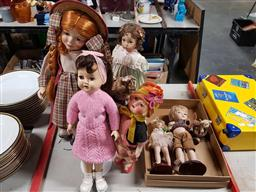 Sale 9176 - Lot 2316 - Collection of five china dolls on stands and three other examples - incl. Dianna Effman and Hillview Lane
