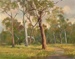 Sale 9256A - Lot 5150 - COLIN WADDINGHAM (1934 - 2016) Walking the Dog, Westerfolds Park, VIC oil on canvas 70 x 89.5 cm (frame: 80 x 99 x 4 cm) signed lowe...