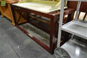 Sale 8216A - Lot 56 - Carrel coffee table, American cherrywood, rosewood finish, clear glass top, L 140 x D 80 x H 45cm, RRP $980.00