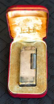 Sale 8259A - Lot 61 - A Boxed Vintage Silver Plated Dunhill Lighter, some wear
