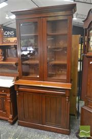 Sale 8267 - Lot 1013 - Late 19th Century Probably Blackwood Bookcase, with two glass & two timber panel doors (Key In Office)