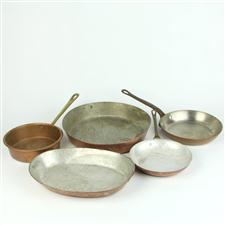 Sale 8351A - Lot 90 - Three French Copper Frying Pans together With Another Two(handles removed)5(approx weight 5kg)