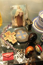 Sale 8362 - Lot 211 - Religious Items incl. Rosary Beads, Icons & Brass Carriage Case Clock with Image