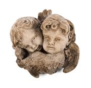 Sale 8422A - Lot 90 - A cast stone wall plaque of two cherub heads, height 28cm
