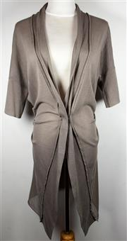Sale 8460F - Lot 50 - A Brunello Cucinelli 3/4 length taupe cotton blend cardigan with single button clasp, size M