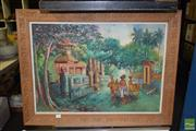 Sale 8509 - Lot 2071 - Artist Unknown - Village Scene 48 x 69cm