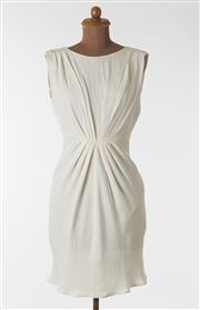 Sale 8550F - Lot 17 - An Italian made Blumarine cream 100% silk dress with high neck, ruched front, low cut V shaped back, size 36.
