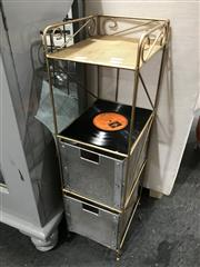 Sale 8809 - Lot 1056 - Small Metal Shelving with Record Detail