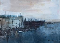 Sale 9109A - Lot 5001 - Robert Henderson Grieve (1924 - 2006) Harbour Theme mixed media 24.5 x 34.5 cm (frame: 44 x 50 x 2 cm) signed lower right, titled verso