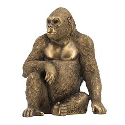 Sale 9140F - Lot 87 - A polyresin sitting gorilla statue featuring a copper finish & intricate details. Dimensions: W17 x D13.5 x H21 cm