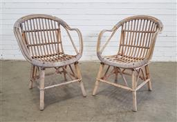 Sale 9151 - Lot 1428 - Pair of cane tub chairs (h:83 x w:63cm)
