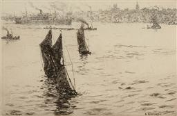 Sale 9216A - Lot 5082 - ARTHUR BRISCOE (1920 - 1997) The Three Barges drypoint etching, ed 2/75 18 x 27.5 cm (frame: 43 x 53 x 2 cm) signed lower right