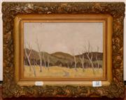 Sale 8107B - Lot 12 - Spooner, Untitled Bushscape, oil on board, 18 x 25cm signed and dated lower left 59.