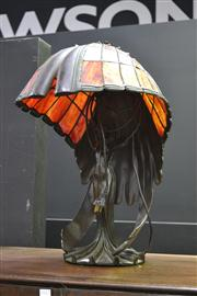 Sale 8134 - Lot 1014 - An impressive Bronze Style Lady Figure Table Lamp With Leadlight Glass Shade