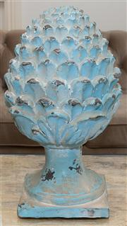 Sale 8308A - Lot 187 - A magnolia bud finial painted with duck egg blue finish, height 43cm