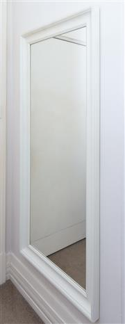 Sale 8800 - Lot 1 - A  large and contemporary rectangular white painted mirror, H 166 x W 75cm