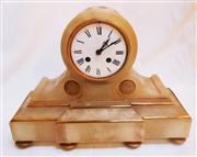 Sale 8362A - Lot 42 - An antique French Napoleon III alabaster mantle clock with key and pendulum, size 27 x 36 x 14 cm