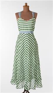 Sale 8550F - Lot 29 - An Easton Pearson 100% cotton A-line green and white striped dress with blue shoulder straps and waist band, size 10.