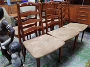 Sale 8566 - Lot 1115 - Set of Six Ladder Back G-Plan Dining Chairs with Fabric Seats