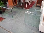 Sale 8672 - Lot 1086 - Bent Glass Coffee Table & Matching Side Table (2)