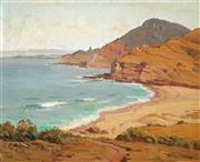 Sale 9021 - Lot 504 - Erik Langker (1898 - 1982) - View over Stanwell park towards Wollongong from Bald Hill 39.5 x 49.5 cm (frame: 60 x 71 x 4 cm)