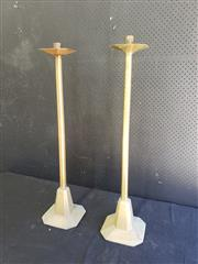 Sale 9014 - Lot 1058 - Pair of Tall Brass Candlesticks, with stepped octagonal bases & drip-trays