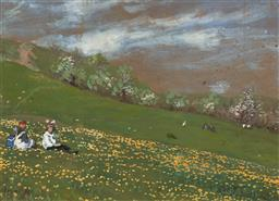 Sale 9155A - Lot 5043 - LAJOS GIMES (1886 - 1945) (Hungarian) - Field of Flowers, 1919 25 x 30 cm (frame: 39 x 47 x 2 cm)