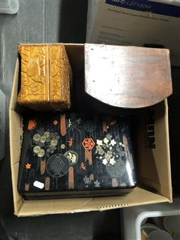 Sale 9152 - Lot 2292 - Box of Wooden Boxes, Small Drawers & a Lacquered Box