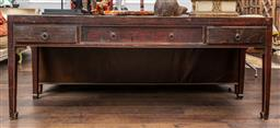 Sale 9160H - Lot 110 - A large antique Chinese elm carved console table with one large and two short drawers, Height 86cm x Width 211cm x Depth 51cm