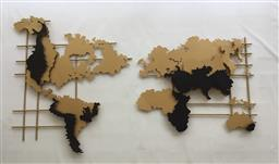 Sale 9175G - Lot 25 - Metal Mid Century Style Wall Hanging World Map .Consists of 2 pieces,General Wear.Size:150cm L x 90cm H x 6cm Front to Back.$
