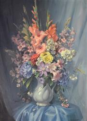 Sale 8000 - Lot 175 - Ernest Buckmaster (1897-1698) - Mixed Flowers in a White Jug oil on canvas